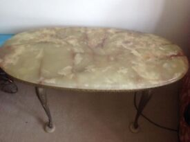 Vintage 1960's Onyx Marble cast Brass coffee Table