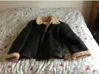 Leather sheepskin flying jacket
