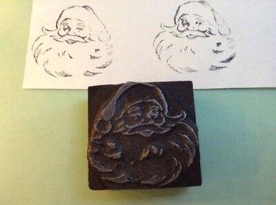 Printing Block Metal On Wood Santa Claus