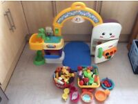 Children's Toy Kitchen With Playfood And Toy Shopping Basket