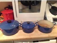 Three Le creuset cast iron casserole