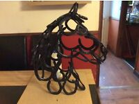 horse head made from used horse shoes