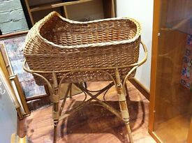 REDUCED - Large hand made wicker baby's crib on legs
