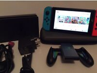 Nintendo Switch Console 32GB with Dock Charger HDMI Grip and Case