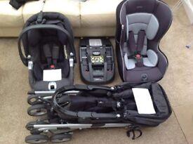 Mamas & Papas pushchair/pram/isofix/2 car seats. Complete travel system!