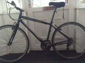 Claud Butler Bike, black hybrid. Good condition. Has 3x7 gears.