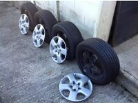Qty 4 5 STUD, 5 SPOKE STEEL rims/tyres (205/55/16) with Vauxhall trims