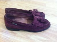 Russell & Bromley Suede Wine Coloured Loafers - Size 5