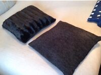 Non-matching pair of black scatter cushions