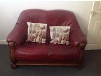 red leather 2&3 sofas wood surround