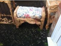 Wicker footstool