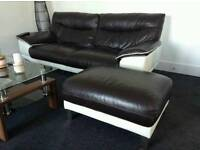 DFS Leather brown and white sofa