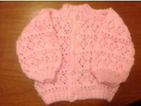 Hand knitted pink baby cardigan, 0-3 months new,