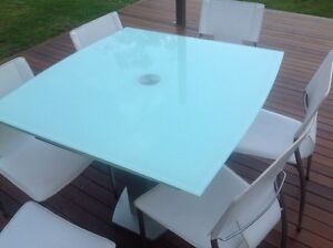 Modern tempered glass extendable dining table & 6 chairs Belrose Warringah Area Preview