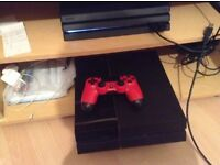Playstation 4 500GB Console + 1 Red Controller + HDMI Cable + 1 Game Uncharted 4 (Good Condition)