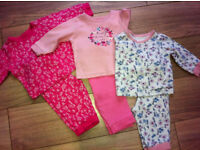 set of 3 baby girls pjs. 3-6 months