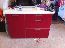 Red gloss kitchen cupboards