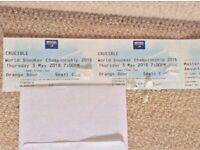 VIP Snooker Semi-Final Package - 2 seats, third row and hotel room reservation 3rd May