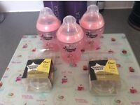 3x brand new pink tommee tippee bottles