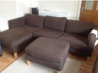 Bargain IKEA Brown Karlstad 3 seater sofa and foot rest