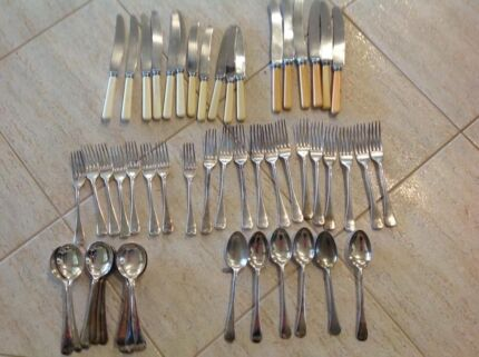 Bone handle knives with fork and spoons plus many extras