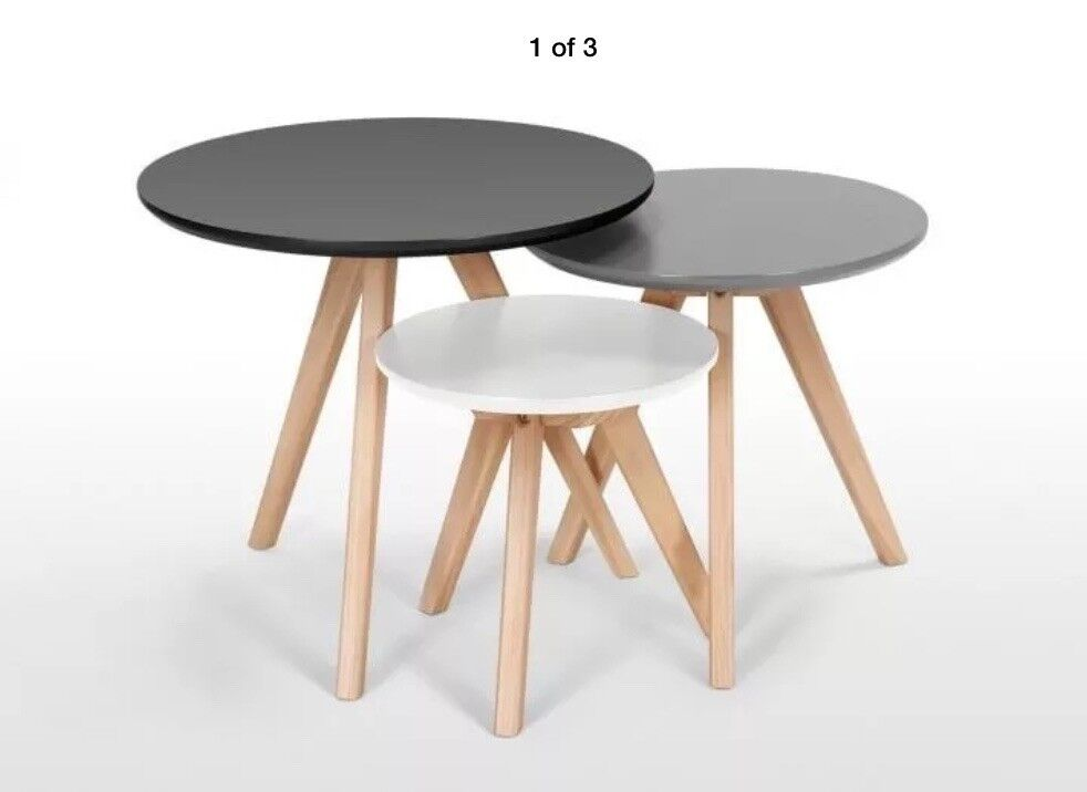 A Set Of Three Orion Side Coffee Tables By Made White Grey Rrp