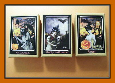 BEAUTIFUL HALLOWEEN WITCHES WITH LOVELY SCENES AND PUMPKINS - THREE GIFT BOXES - Halloween Iii Love Scene