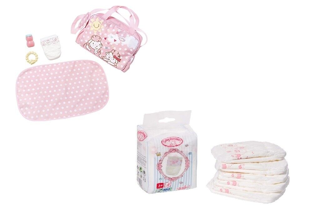 Baby Annabell Changing Bag & 5 Pack Nappies Playset Doll ...