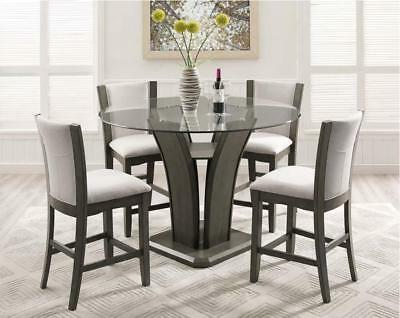 Grey Round Glass Top Counter Height Table Set 5 Pcs Crown Mark 1710GY-5P Camelia ()