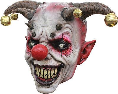 Halloween LifeSize EVIL DEMON CLOWN JINGLE JANGLE LATEX MASK Haunted House NEW (Demon Clown Mask)