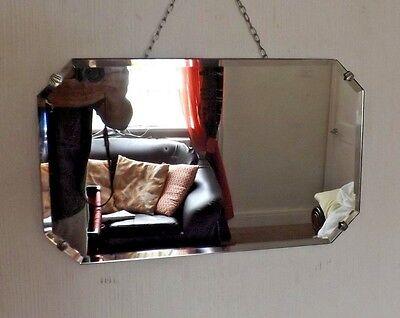 Vintage Art Deco 8-Sided Frameless Bevelled Edge Mirror