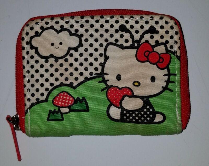 Hello Kitty Sanrio Small Zip Wallet Card Holder Ladybug Red White Black