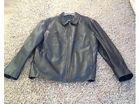 Soft leather jacket. Zipper front black leather, hardly used.