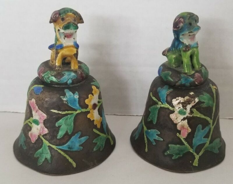 Antique Set Of Enameled Chinese Bronze Figural Foo Dog Floral Dinner Table Bell