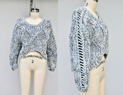 DAGMAR Chunky Knit Sweater Cropped Crop Sweater Asymmetrical Knitted size XS
