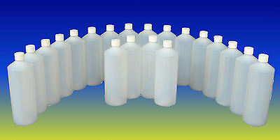 NEW 10 x 1 L, LTR, LITRE, PLASTIC HDPE BOTTLE WITH CAP