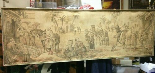 """Oriental Antique tapestry Wall Hanging  Market Place  Made in Belgium 56"""" x 19"""""""