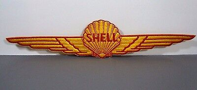 LARGE Vtg. SHELL AVIATION-AEROSHELL Embroidered Sew-On Uniform-Jacket Patch 14""