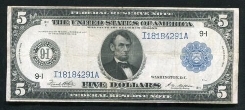 FR.879a 1914 $5 FIVE DOLLARS FRN FEDERAL RESERVE NOTE MINNEAPOLIS, MN VERY FINE+