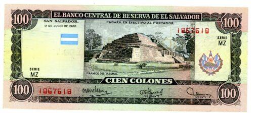 El Salvador … P-133 … 100 Colones … 1980 ... ch*XF*  Serie MZ.