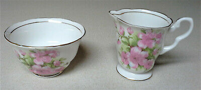 Royal Stafford Pink Flowers Fine Bone China England Cream Creamer & Sugar Bowl Pink Bone China
