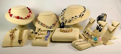 Professional 16 Piece Jewelry Display Forms Photo Sets Vending Nib Tan Suede