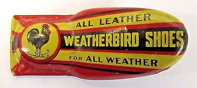 1930's PETERS WEATHERBIRD SHOES red advertising tin clicker premium ROOSTER