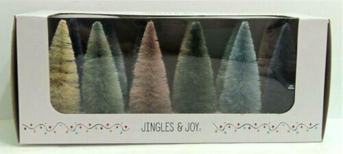 "Retro Style Multi Color Christmas Bottle Brush Tree Box Set Of 12 - 6"" Tall  NEW"