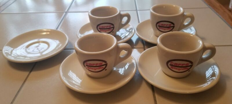 4 ACF Porcelain Italy Caffe Stagnitta Espresso Cups & 5 Saucers