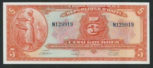 HAITI  5 GOURDES 1964  P- 187 UNC