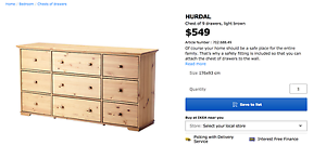 IKEA - Hurdal (chest of 9 drawers) AS NEW! Wollstonecraft North Sydney Area Preview