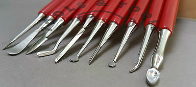 10 PIECE CARVER SET WAX CARVERS CARVING TOOLS METAL CLAY SCULPTING DESIGN WORK