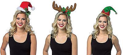 Rasta Imposta Adult Christmas Headband Hat Santa Reindeer Antlers Holiday Elf - Rasta Santa Hat