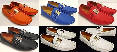 Men's GIOVANNI faux leather slip on shoes orange blue red black white (Black Leather Slip On Shoes For Men)